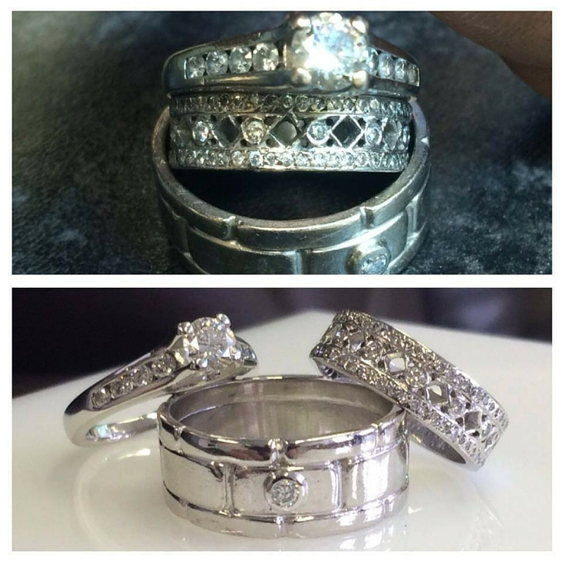 before and after three rings cleaned by Guy Wakeling jewellery