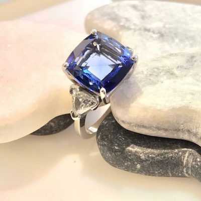 square saphire remodelled ring from Guy Wakleing Jewellery