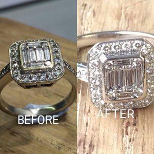 Rhodium Plated diamond ring