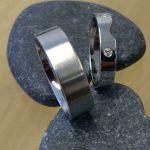 Platinum wedding rings with diamond insert from Guy Wakeling Jewellery