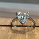 Heart cut diamond and platinum ring commissioned from Guy Wakeling Jewellery