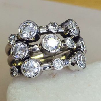 multiple diamonds and platinum ring from Guy Wakeling Jewellery