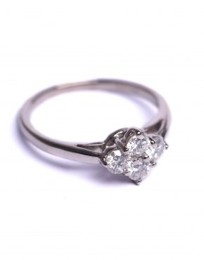 18ct White Gold, White Gold Engagement Ring, 4 stone diamond cluster, diamond cluster, engagement ring, bespoke jewellery,