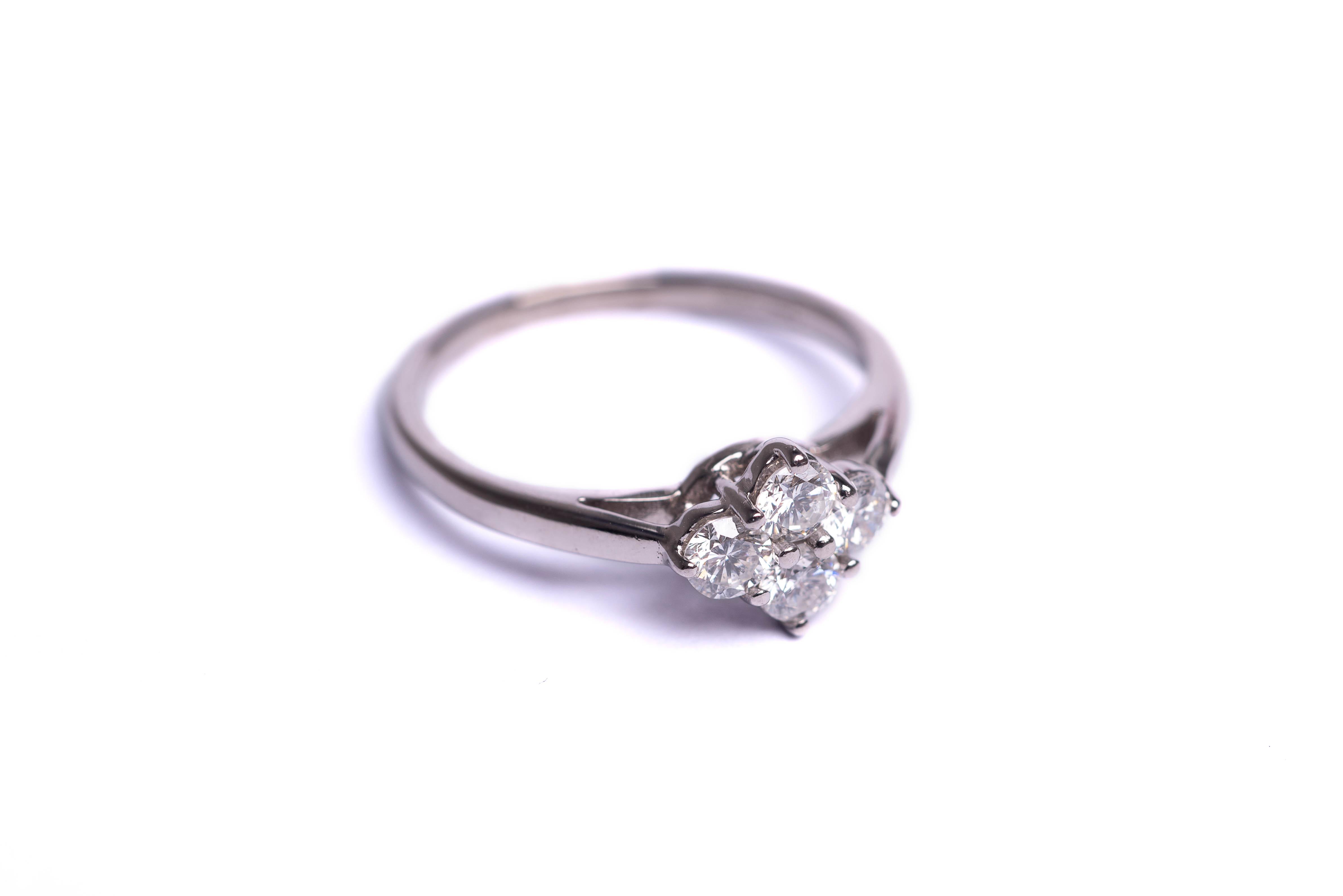 339de9f7907bd 18ct White Gold 4 Stone Diamond Cluster Ring - 0.50ct