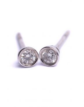 Brilliant Cut Diamond Earrings with rubber style setting