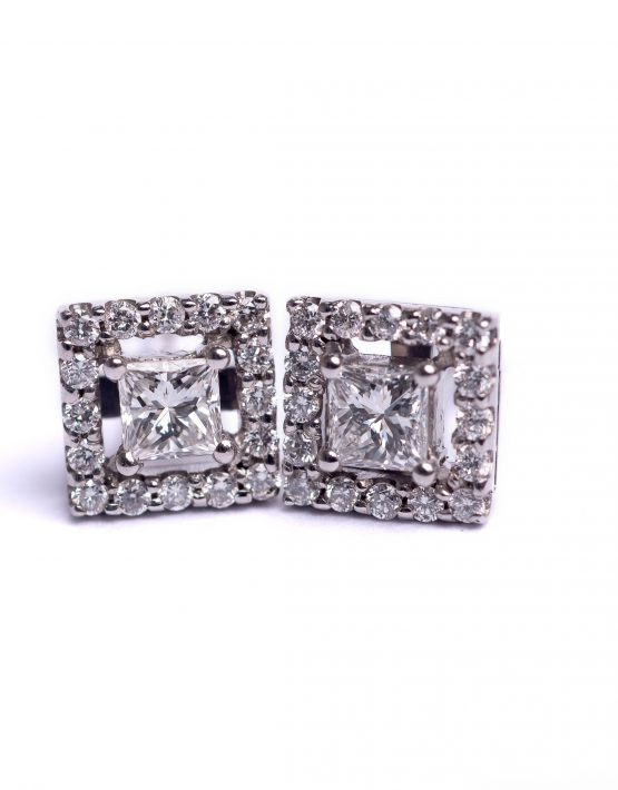 Princess Cut, Diamond Earring, 18ct White Gold