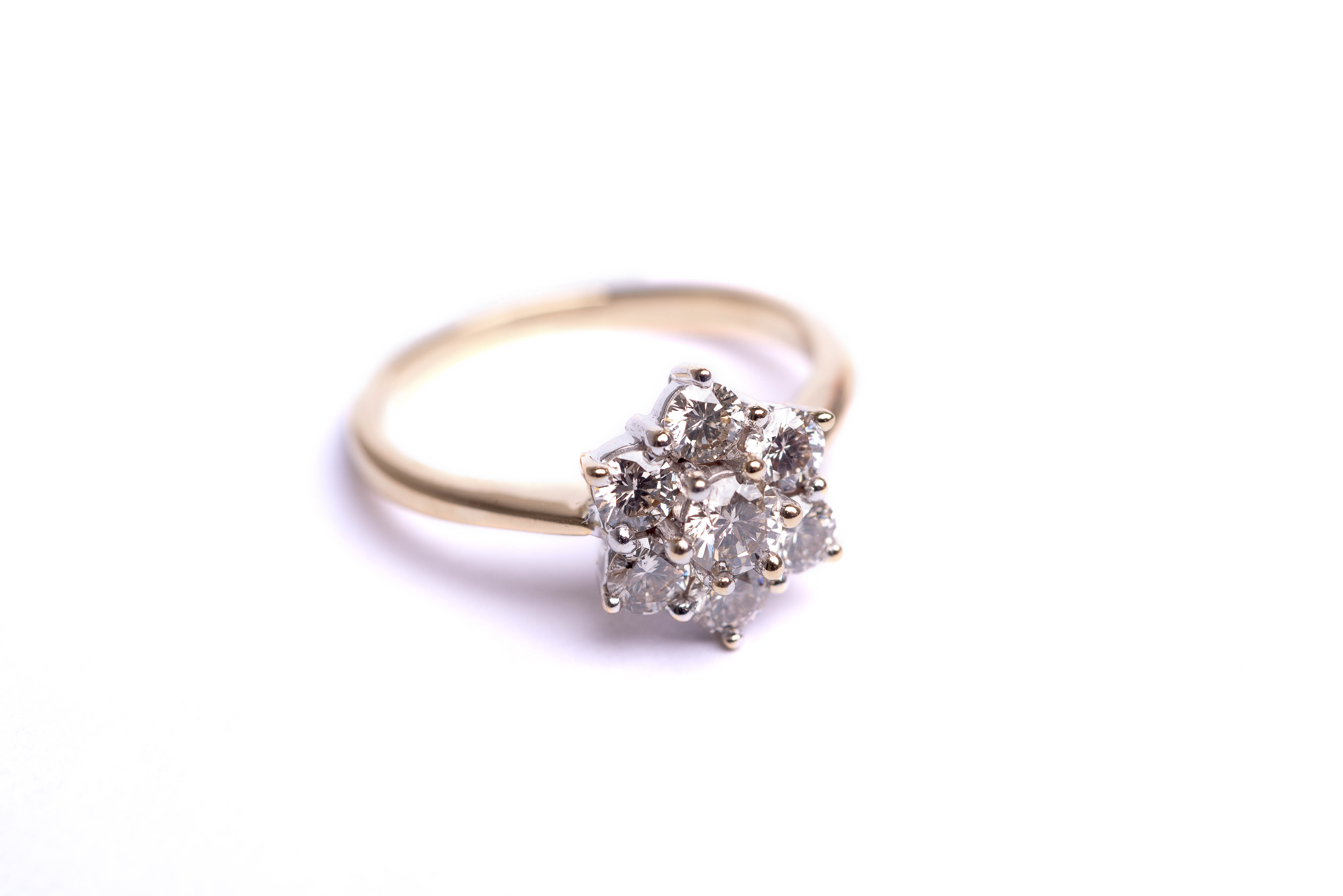18ct Yellow Gold 1 5ct Brilliant Cut Diamond Cluster Ring Guy Wakeling Jewellery
