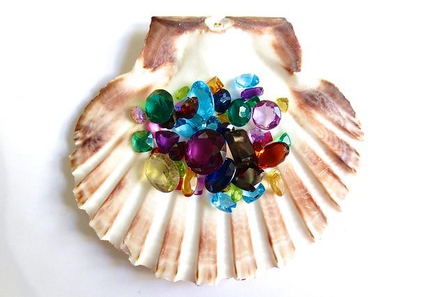 Gemstones in shel for blog by Guy Wakeling Jewellery