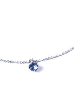 Sapphire, Ceylon Sapphire, Sapphire Pendant, Sapphire Pendant and Chain, Bespoke Jewellery, Goldsmith, High Jewellery, White Gold Pendant, White Gold Sapphire Pendant
