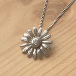 Platinum Diamond Daisy Pendant, Daisy Pendant, Bespoke pendant, Handmade Pendant, Diamond Pendant