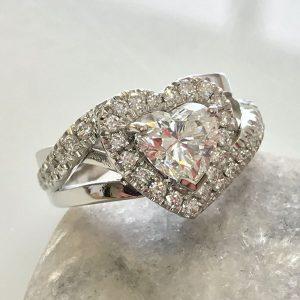 Heart Shaped Diamond, Platinum Heart Shaped Ring, Engagement Ring, Diamond Engagement Ring