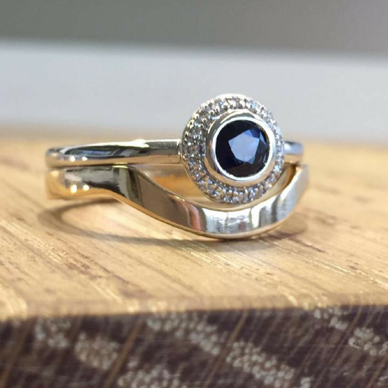 Sapphire and white gold bespoke wedding and engagement ring that fit together