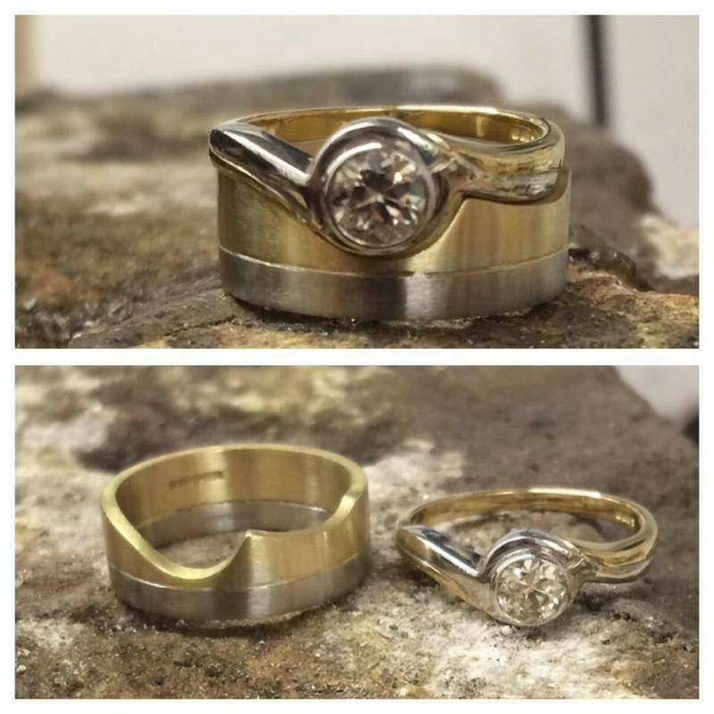 Matching bespoke wedding and engagement ring in gold