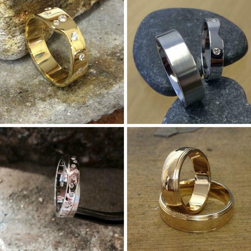 A selection of bespoke wedding rings