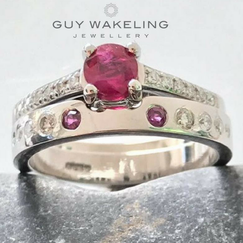 gold and ruby wedding and engagement rings that fit together perfectly