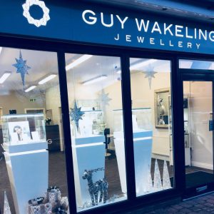 image shows the new Guy Wakeling jewellery store trimmed up ready for Christmas in Preston