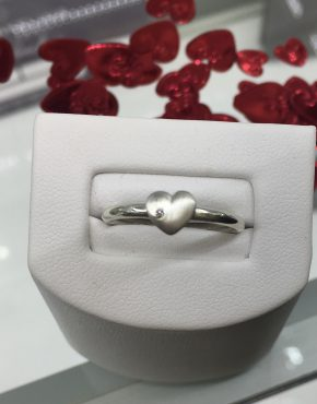 Heart Ring, Diamond Ring, Bespoke Heart Ring, Bespoke Silver Diamond Ring, Valentines Ring