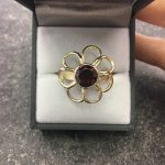9ct Yellow Gold, Yellow Gold, Daisy Ring, Red Garnet Ring, Garnet Ring, Bespoke Handmade Ring, Gold Daisy Ring