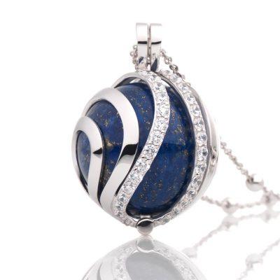 sparkling jewel necklace blue