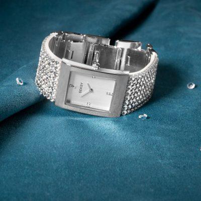seksy watch silver crystals